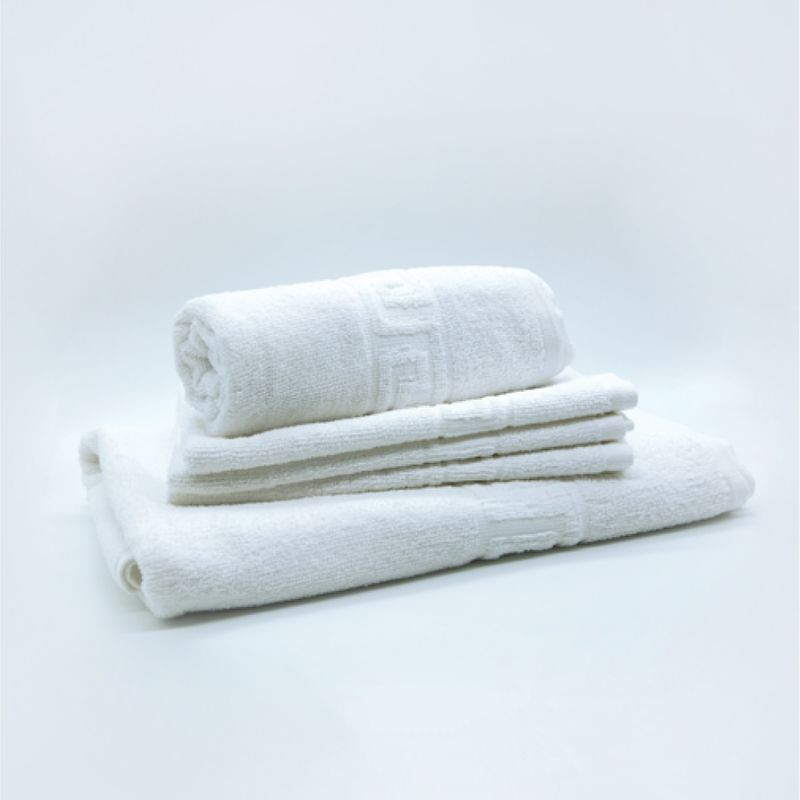 poze Set 3 Prosoape Hoteliere Albe cu Model Grecesc 500 gr/mp Set Luxury Cotton Towel