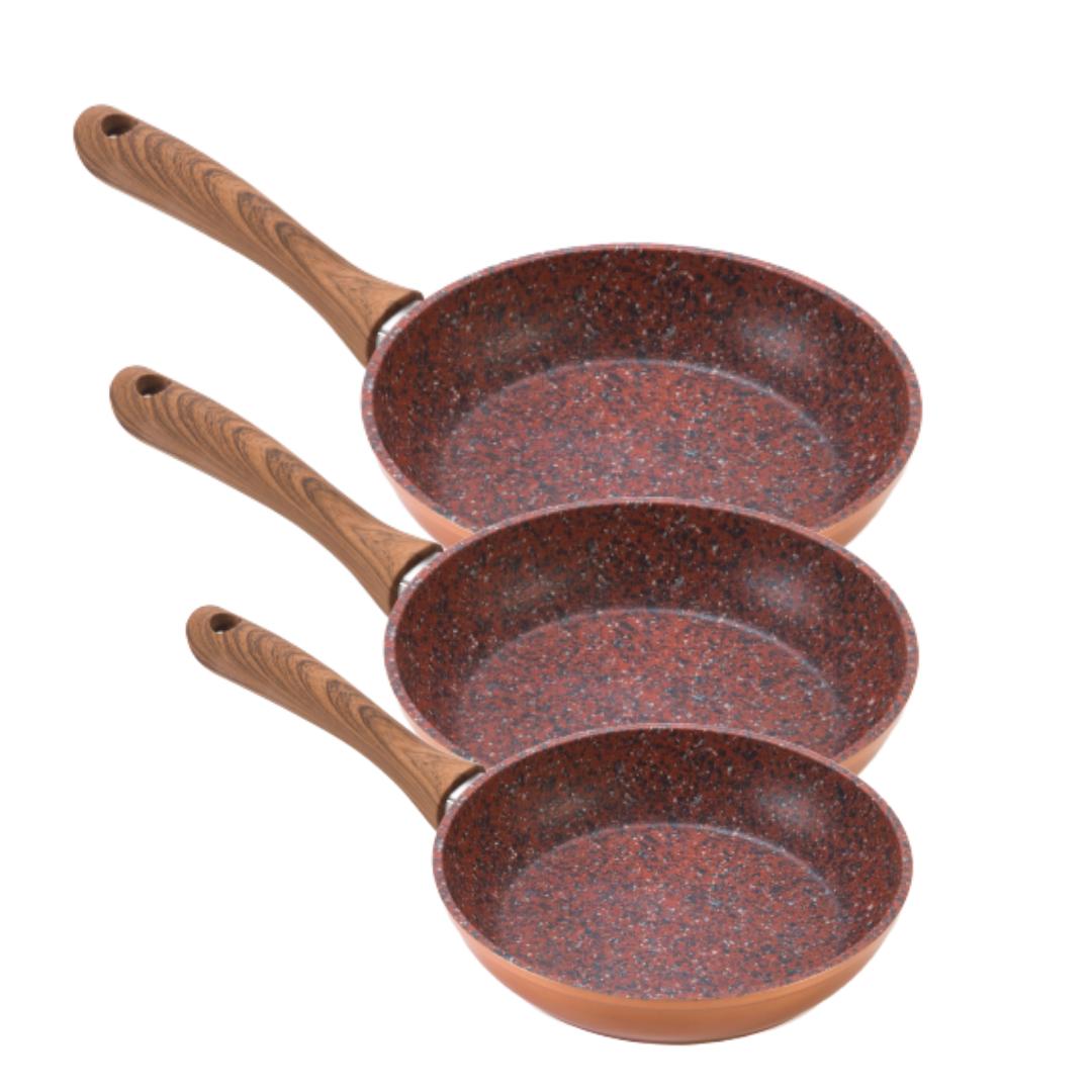 Set Regis Stone Copper Family: Tigai 20, 24 Si 28 Cm Antiaderente, Cu Particule De Piatra Si Cupru