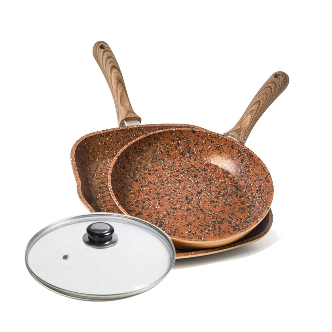 Set Regis Stone Copper Maxigrill: Capac 28 Cm, Tigai 28 Cm Si Grill Antiaderente Cu Piatra Si Cupru