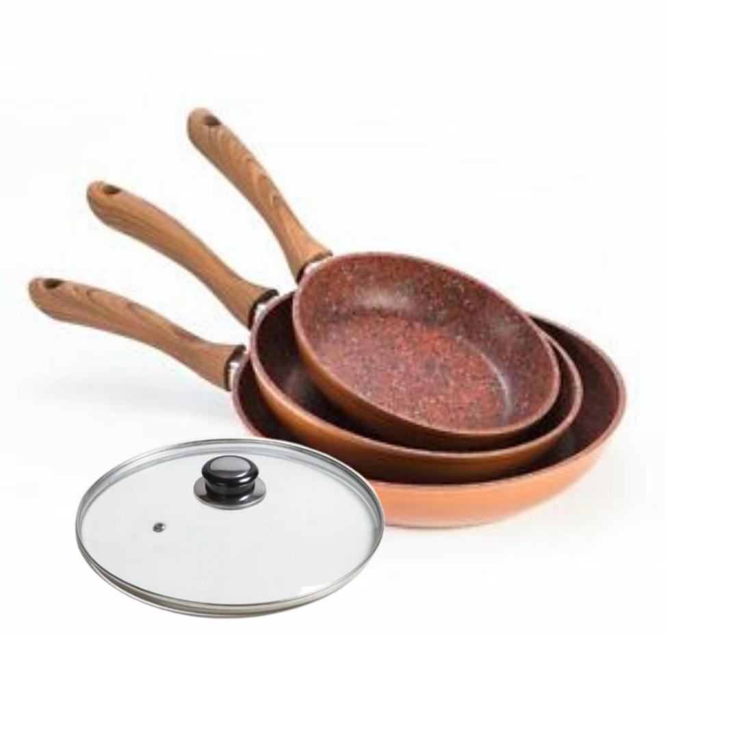 Set Regis Stone Copper Maxiset: Capac 28 Cm Si Tigai 20, 24 Si 28 Cm Antiaderente Cu Piatra Si Cupru