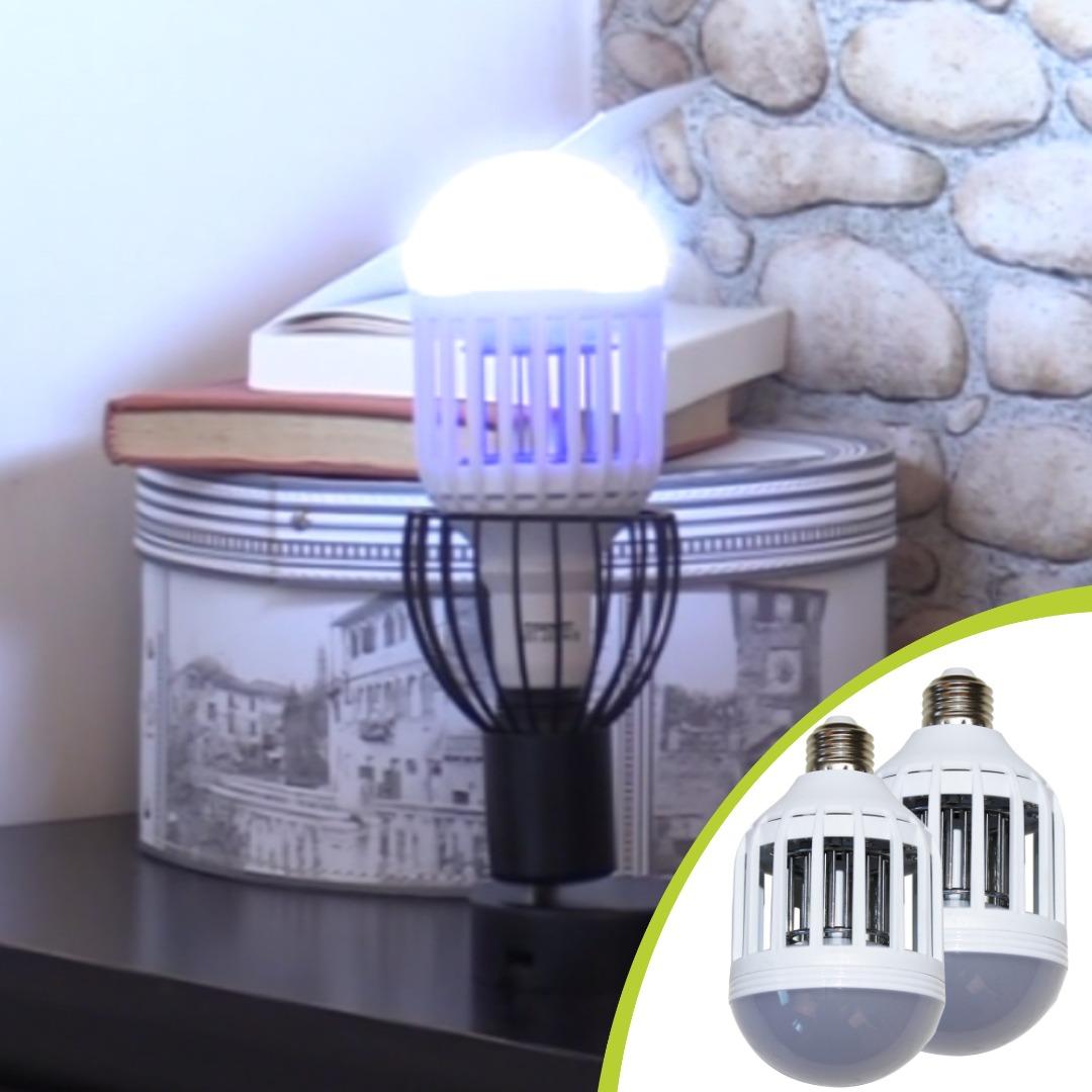 Set 2 Lampi 2 In 1 Antiinsecte Cu Lumina Uv, Killer Lamp